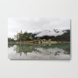 Eibsee Lake Mountain Island Reflection - Art Print Metal Print