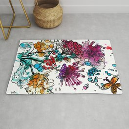 Floral watercolor abstraction Rug