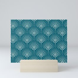 Off White Polka Dot Scallop Pattern on Tropical Dark Teal Inspired by Sherwin Williams 2020 Trending Color Oceanside SW6496 Mini Art Print