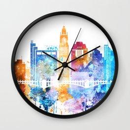 Colombus Watercolor Skyline Wall Clock
