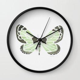 Green Grass Spring Butterfly Wall Clock