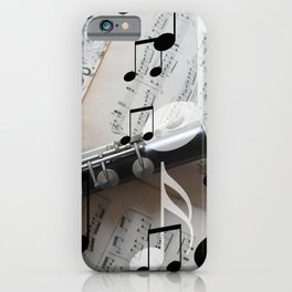 music notes white black clarinet iPhone Case