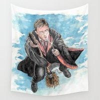 harry potter Wall Tapestries featuring Harry Potter  by Dave Seedhouse.com