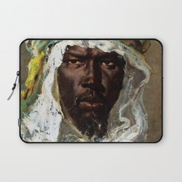 African American Masterpiece, Kenya Morning, African Male portrait painting by Jéan-Joseph Constant Laptop Sleeve