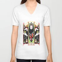 deco V-neck T-shirts featuring Spirited Deco by Ashley Hay