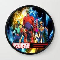 big hero 6 Wall Clocks featuring Big Hero 6 by ezmaya