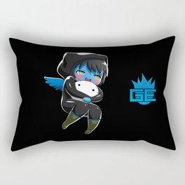 Fuzzy Chibi Luc (Expression 1) w/ Black Background Rectangular Pillow