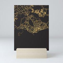 SINGAPORE GOLD ON BLACK CITY MAP Mini Art Print
