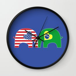U.S.-Brazil Friendship Elephants Wall Clock