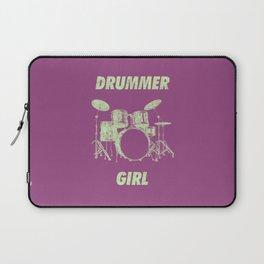 Drummer Girl Funny Drums Vintage Drumming Distressed Laptop Sleeve