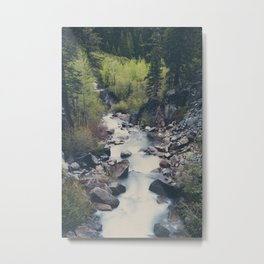 a mountain stream weaves down amongst the trees above Lake Tahoe Metal Print