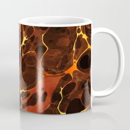 Abstract Painting - Marbling Art 07- Fluid Painting - Brown, Gold Abstract - Modern Abstract Coffee Mug