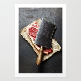 vintage cleaver and raw beef steak on dark background Art Print