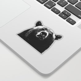 Black and white bear portrait Sticker