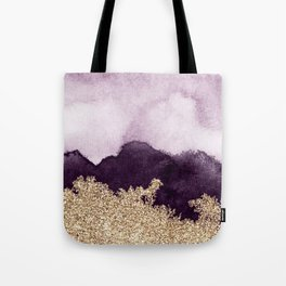 Golden glitter on purple paint Tote Bag