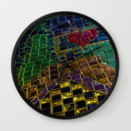Geometric Rainbow Chicago Mosaic with Heart Wall Clock