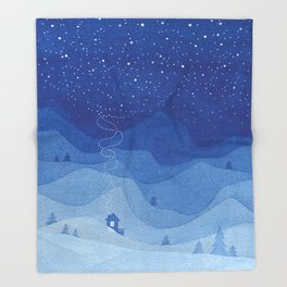 Stars factory, blue Throw Blanket