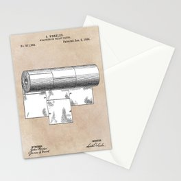 patent art Wheeler Wrapping of toilet paper 1894 Stationery Cards