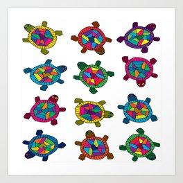 Multi Color Turtles Art Print
