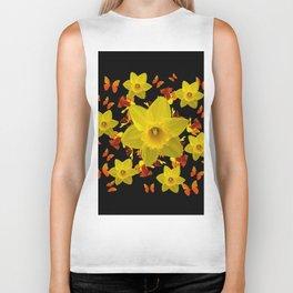 Decorative Black Design Butterflies Yellow Daffodils Biker Tank