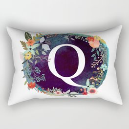 Personalized Monogram Initial Letter Q Floral Wreath Artwork Rectangular Pillow