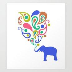 Multi-Colored Paisley Elephant Pattern Design Art Print