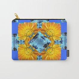 AQUA GEMS & GOLDEN FLOWER PATTERNS ON BLUE ART Carry-All Pouch