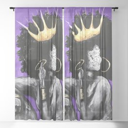 Naturally Queen VI PURPLE Sheer Curtain