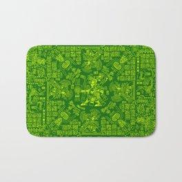 Mayan Spring GREEN / Ancient Mayan hieroglyphics mandala pattern Bath Mat