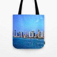 new york skyline Tote Bags featuring New York  Skyline   by Judy Palkimas