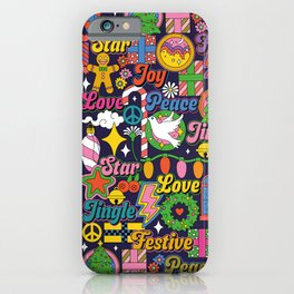 60s 70s Colorful Christmas Pattern iPhone Case