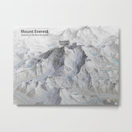 Mount Everest 3D Map with Labels Metal Print