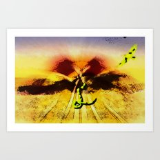 Snake ad bird in the desert Art Print