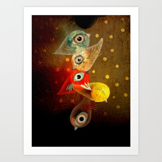 Lighting Birds Whimsical Art Art Print