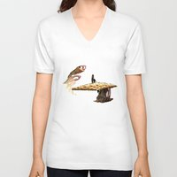 mushroom V-neck T-shirts featuring Mushroom by lightningMade