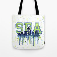 seahawks Tote Bags featuring Seattle 12th Man Art Watercolor Space Needle Painting  by Olechka