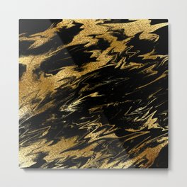 Luxury and sparkle gold glitter and black marble Metal Print