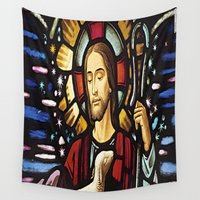 jesus Wall Tapestries featuring JESUS. by Aldo Couture