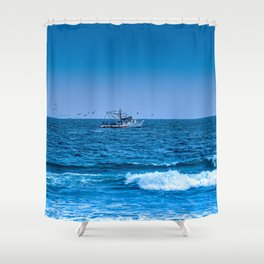 Deep Blue Fishing Shower Curtain