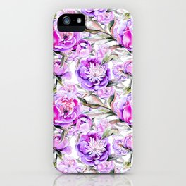 Modern lilac violet watercolor hand painted floral motif iPhone Case