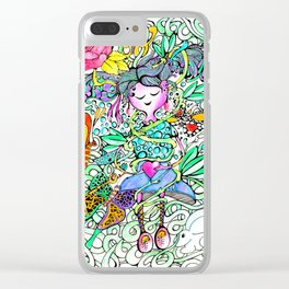 Dreamy Girl - Handmade Ink and Water Colour Illustration Clear iPhone Case