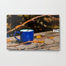 Autumn morning - Blue mug with branches and yellow leaves on a wooden table outdoor - Fine art photography Metal Print