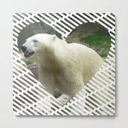 Polar Baer in heart shape Metal Print