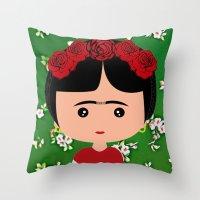 frida kahlo Throw Pillows featuring Frida Kahlo by Creo tu mundo