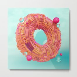 Space Donut City // 3D ABSTRACT Metal Print