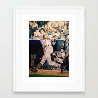 yankees Framed Art Prints featuring Derek Jeter by Lance Gebhardt