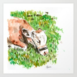 Sleeping Cow Art Print