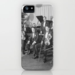 Vintage black and white photo of orchestra iPhone Case