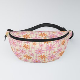 Bohemian Retro 70s Groovy Daisy Pattern with Stripes, Vintage Daisies in Hot Orange and Pink Fanny Pack