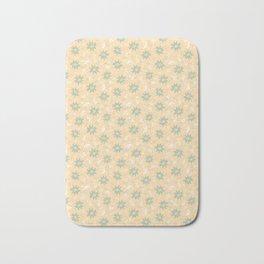 Fresh Minty Flowers Yellow Cream And Green Design Bath Mat